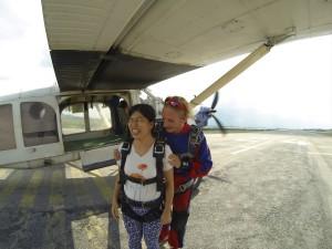 Climbing onto the plane